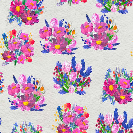 Seamless pattern with Beautiful flowers. Watercolor or acrylic painting. Floral background. Wildflowers, pink wild rose, lavender and pappy. Nature print design
