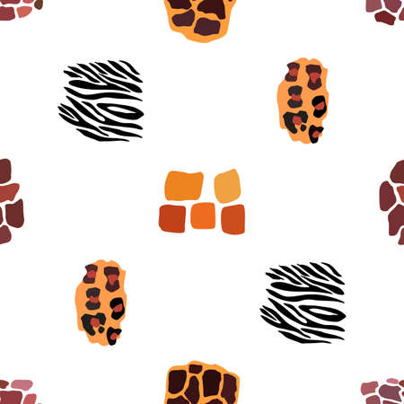 Wild animal mix seamless pattern. Jaguar, leopard, zebra, giraffe, tiger and cheetah print. Abstract background. Vector illustration. Fabriq or wrapping paper design