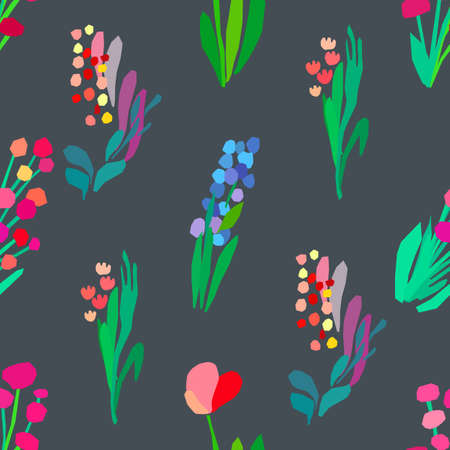 Seamless pattern with flowers, plant vector background. Abstract floral illustration. Textile print with wildflower. Spring fabriq design.