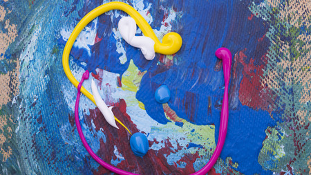 Abstracte acryl met de hand geschilderde textuur als achtergrond op karton Stockfoto - 71122875