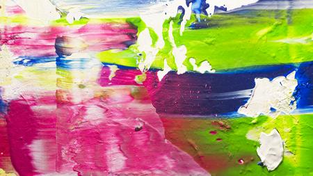 Abstracte acryl handgeschilderde textuur achtergrond met heldere blauwe, roze en groene verf Stockfoto - 93506559