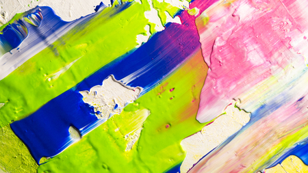 Abstracte acryl handgeschilderde textuur achtergrond met heldere blauwe, roze en groene verf Stockfoto - 93506560