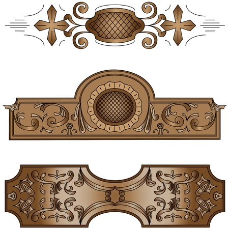 wood carving: Vector Graphics for carving basrelief vector illustration Stock Photo