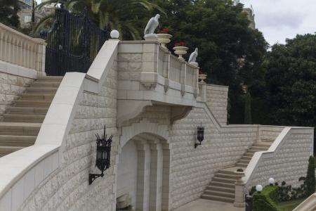 bahaullah: Balcony in the Bahai Temple Haifa Stock Photo