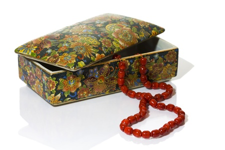 Red beads and jewelry box Stock Photo - 18222166