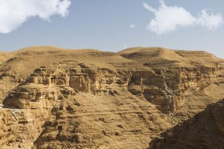 Desert canyon of Wadi Kelt in Israel photo