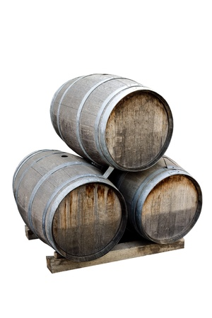 Wine barrels on a white background photo
