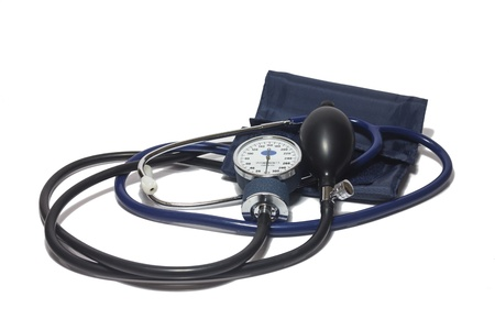 a device for measuring blood pressure on a white background photo