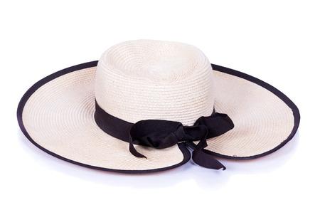chapeau de paille: Le chapeau de la femme sur un fond blanc