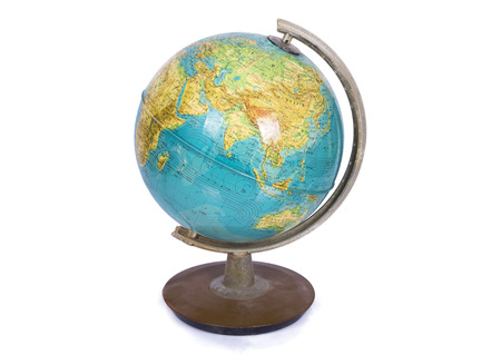 stand: Globe on a white Stock Photo