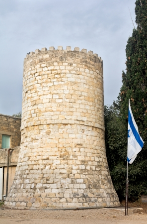 templars: Tower of the Templars with the Israel flag Stock Photo