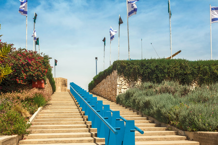 steps leading to heaven with the flags of Israel photo