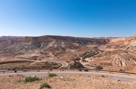 nature reserves of israel: road in the Negev desert, Israel Stock Photo