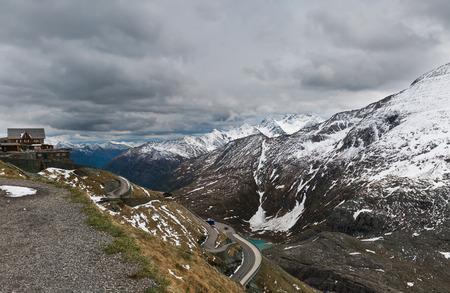 austrian: Alpine winter road in the Austrian Alps Stock Photo
