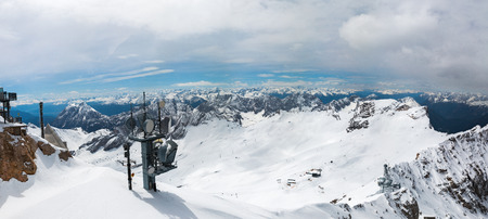climbing cable: view from the top of the Zugspitze in the Alps