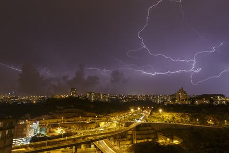 haifa: beautiful lightning in the sky above Haifa