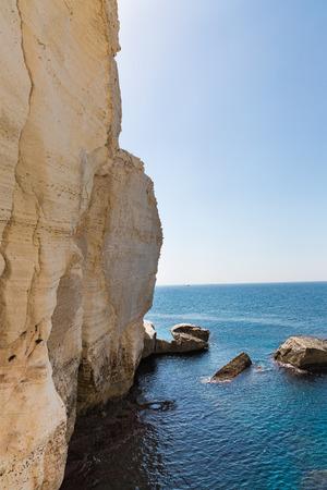 hanikra: White Cliffs on the coast of the Mediterranean Sea