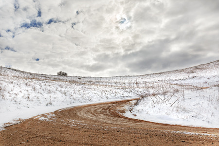 golan: road and snow in the Golan Heights in Israel Stock Photo