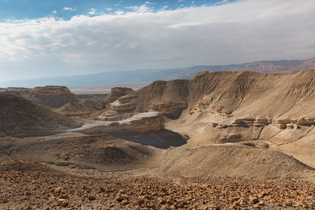 arava: Panorama of Arava desert in Israel Stock Photo