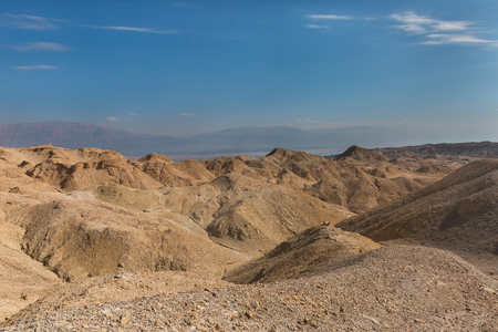 timna: Panorama of Arava desert in Israel Stock Photo