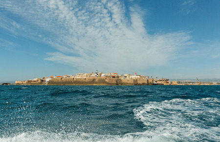 acre: View of the city walls of Akko from the sea, Israel Stock Photo