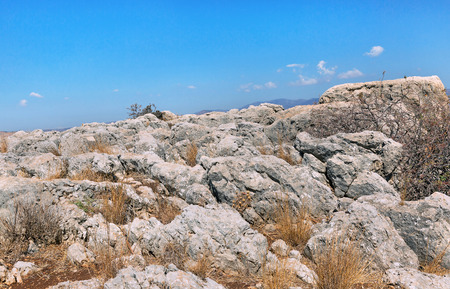 stones on Mount Arbel in Israel