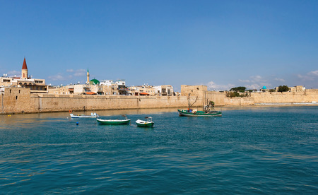 View of the city of Akko from the sea Stock Photo