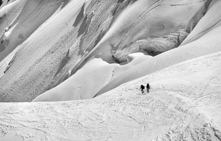 ski area: Skiers in the snow in the Mont Blanc area Stock Photo