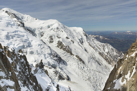 aiguille: Landscape of mountain peaks in the Mont Blanc area