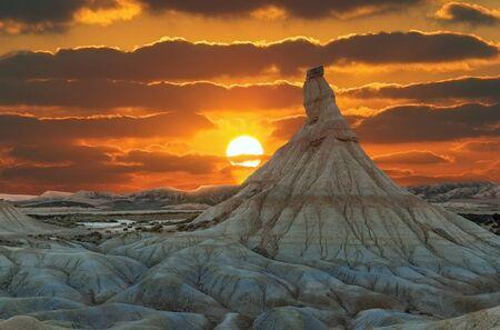 beautiful Bardenas Kastildeterra in the desert at sunset Spain Stock Photo