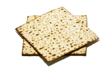 Matzo form a six-pointed star on a white background