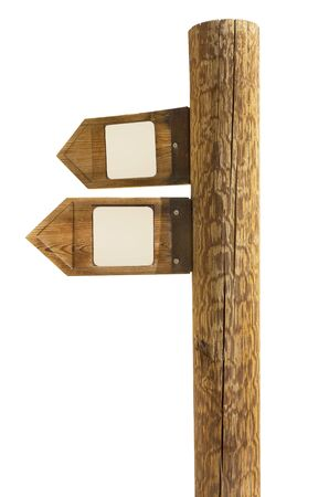 wooden signpost of directions on a white background