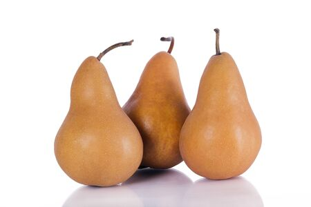 Brown pear on a white background
