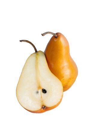 Braune Birne auf weißem Hintergrund Standard-Bild