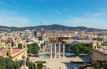 beautiful Plaza de España in Barcelona, panorama Foto de archivo