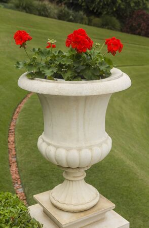 stone vase of flowers in the park