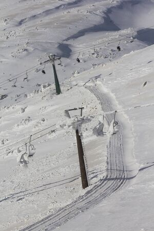 cableway on Mount Hermon in winter, Israel