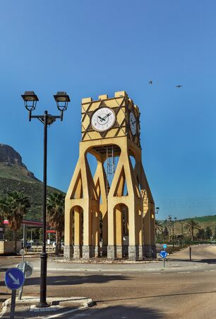 Street lamp and clock tower in Israel