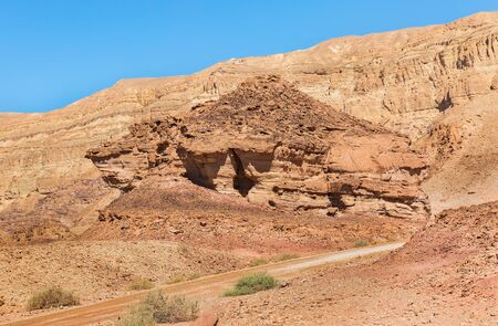 Interesting shapes of the mountains in the desert of Eilat