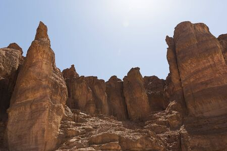 Solomon Pillars in Timna park Israel 版權商用圖片
