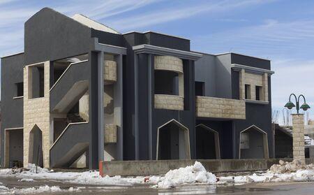 The building in Druze village in winter, Israel