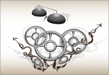 curly arrows and gears symbolizing the clock, vector drawing