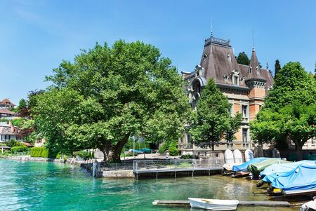 Castle on Lake Thun in Switzerland Editorial