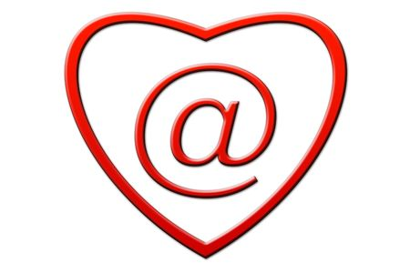 respond: Email in the form of heart on a white background