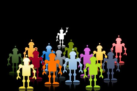 searcher: It is a lot of robots under command of one, on a black background Stock Photo