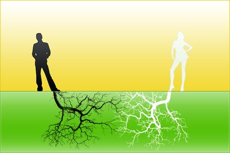 rooted: Close mutual relations with deep sense, as a background Stock Photo