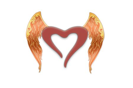 Heart with angel wings located on a white background photo