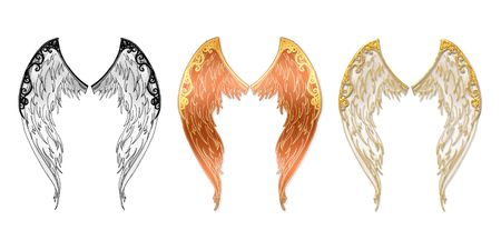 variants: Angel wings located on a white background in three variants Stock Photo