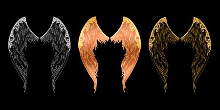 ethics: Angel wings located on a black background in three variants Stock Photo