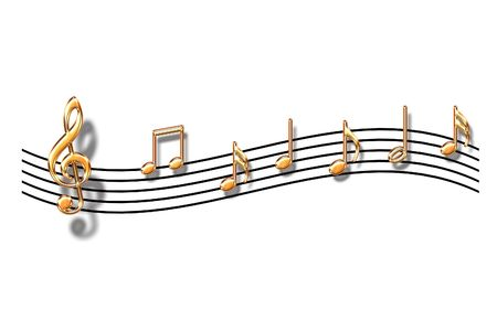 Gold musical notes on a white background
